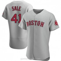 Mens Chris Sale Boston Red Sox #41 Authentic Gray Road A592 Jerseys