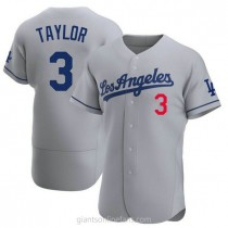 Mens Chris Taylor Los Angeles Dodgers #3 Authentic Gray Away Official A592 Jerseys
