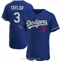 Mens Chris Taylor Los Angeles Dodgers #3 Authentic Royal Alternate A592 Jersey