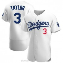 Mens Chris Taylor Los Angeles Dodgers #3 Authentic White Home Official A592 Jersey