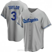 Mens Chris Taylor Los Angeles Dodgers #3 Replica Gray Road A592 Jerseys