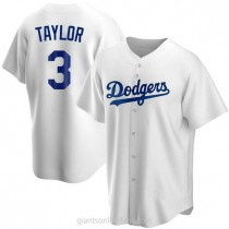 Mens Chris Taylor Los Angeles Dodgers #3 Replica White Home A592 Jerseys