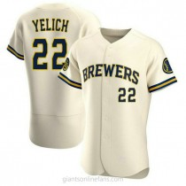 Mens Christian Yelich Milwaukee Brewers #22 Authentic Cream Home A592 Jersey