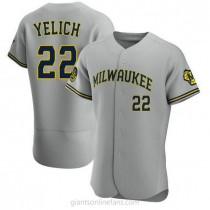 Mens Christian Yelich Milwaukee Brewers #22 Authentic Gray Road A592 Jersey