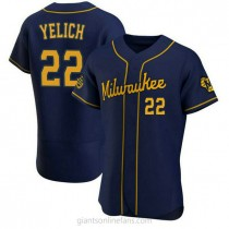 Mens Christian Yelich Milwaukee Brewers #22 Authentic Navy Alternate A592 Jersey