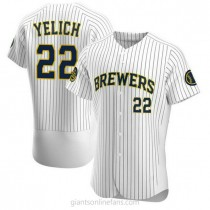 Mens Christian Yelich Milwaukee Brewers #22 Authentic White Alternate A592 Jersey