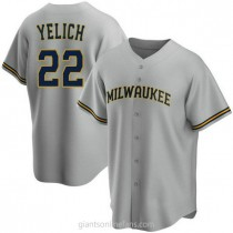 Mens Christian Yelich Milwaukee Brewers #22 Replica Gray Road A592 Jerseys