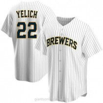 Mens Christian Yelich Milwaukee Brewers #22 Replica White Home A592 Jersey