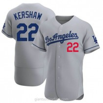 Mens Clayton Kershaw Los Angeles Dodgers #22 Authentic Gray Away Official A592 Jersey