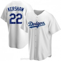 Mens Clayton Kershaw Los Angeles Dodgers #22 Replica White Home A592 Jerseys