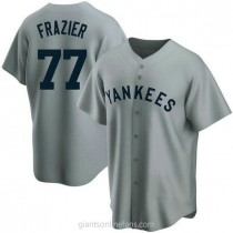Mens Clint Frazier New York Yankees #77 Replica Gray Road Cooperstown Collection A592 Jersey