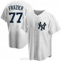 Mens Clint Frazier New York Yankees #77 Replica White Home A592 Jerseys