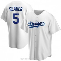 Mens Corey Seager Los Angeles Dodgers #5 Replica White Home A592 Jerseys