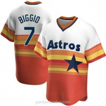 Mens Craig Biggio Houston Astros #7 Replica White Home Cooperstown Collection A592 Jersey