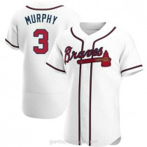 Mens Dale Murphy Atlanta Braves #3 Authentic White Home A592 Jersey