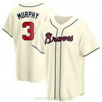 Mens Dale Murphy Atlanta Braves #3 Replica Cream Alternate A592 Jersey