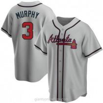 Mens Dale Murphy Atlanta Braves #3 Replica Gray Road A592 Jersey