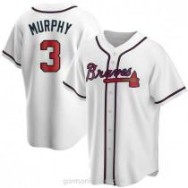 Mens Dale Murphy Atlanta Braves #3 Replica White Home A592 Jersey