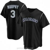 Mens Dale Murphy Colorado Rockies #3 Replica Black Alternate A592 Jerseys