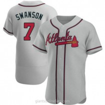 Mens Dansby Swanson Atlanta Braves #7 Authentic Gray Road A592 Jerseys