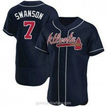 Mens Dansby Swanson Atlanta Braves #7 Authentic Navy Alternate A592 Jersey
