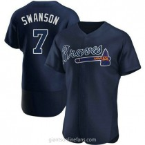 Mens Dansby Swanson Atlanta Braves #7 Authentic Navy Alternate Team Name A592 Jersey