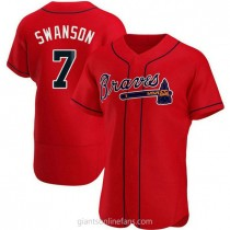 Mens Dansby Swanson Atlanta Braves #7 Authentic Red Alternate A592 Jersey