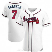 Mens Dansby Swanson Atlanta Braves #7 Authentic White Home A592 Jerseys