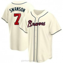 Mens Dansby Swanson Atlanta Braves #7 Replica Cream Alternate A592 Jersey
