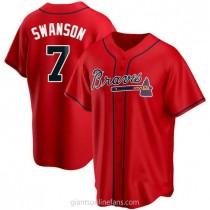 Mens Dansby Swanson Atlanta Braves #7 Replica Red Alternate A592 Jerseys