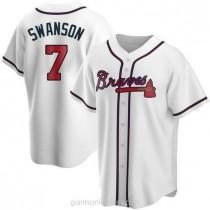Mens Dansby Swanson Atlanta Braves #7 Replica White Home A592 Jerseys