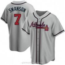 Mens Dansby Swanson Atlanta Braves Replica Gray Road A592 Jersey
