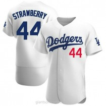 Mens Darryl Strawberry Los Angeles Dodgers #44 Authentic White Home Official A592 Jerseys