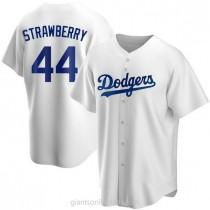 Mens Darryl Strawberry Los Angeles Dodgers #44 Replica White Home A592 Jersey