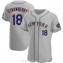 Mens Darryl Strawberry New York Mets #18 Authentic Gray Road A592 Jersey
