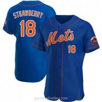 Mens Darryl Strawberry New York Mets #18 Authentic Royal Alternate A592 Jersey