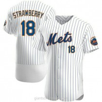Mens Darryl Strawberry New York Mets #18 Authentic White Home A592 Jersey
