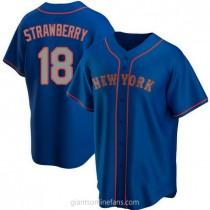Mens Darryl Strawberry New York Mets #18 Replica Royal Alternate Road A592 Jersey