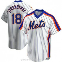 Mens Darryl Strawberry New York Mets #18 Replica White Home Cooperstown Collection A592 Jersey