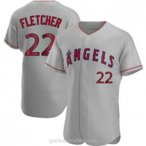 Mens David Fletcher Los Angeles Angels Of Anaheim #22 Authentic Gray Road A592 Jersey