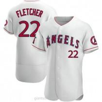 Mens David Fletcher Los Angeles Angels Of Anaheim #22 Authentic White A592 Jerseys