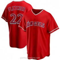 Mens David Fletcher Los Angeles Angels Of Anaheim #22 Replica Red Alternate A592 Jersey