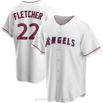 Mens David Fletcher Los Angeles Angels Of Anaheim #22 Replica White Home A592 Jersey