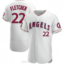 Mens David Fletcher Los Angeles Angels Of Anaheim Authentic White A592 Jersey
