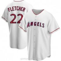 Mens David Fletcher Los Angeles Angels Of Anaheim Replica White Home A592 Jersey