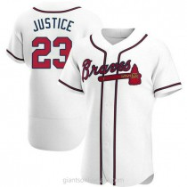Mens David Justice Atlanta Braves #23 Authentic White Home A592 Jersey