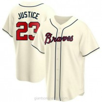 Mens David Justice Atlanta Braves #23 Replica Cream Alternate A592 Jerseys
