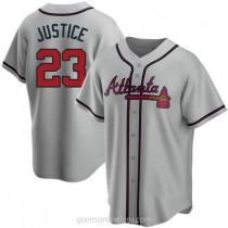 Mens David Justice Atlanta Braves #23 Replica Gray Road A592 Jersey