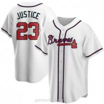 Mens David Justice Atlanta Braves #23 Replica White Home A592 Jersey