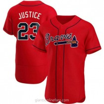 Mens David Justice Atlanta Braves Authentic Red Alternate A592 Jersey